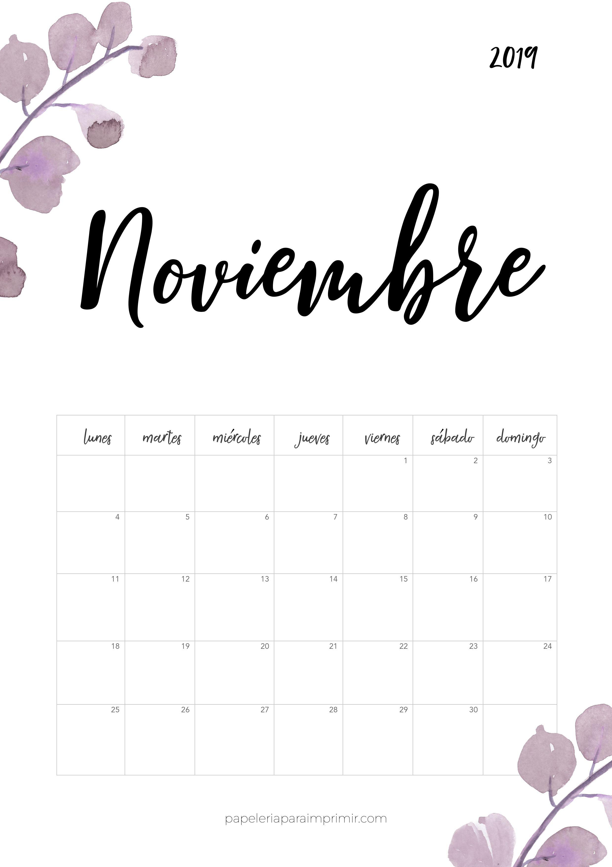 calendarios 2019 para imprimir bonitos pdf
