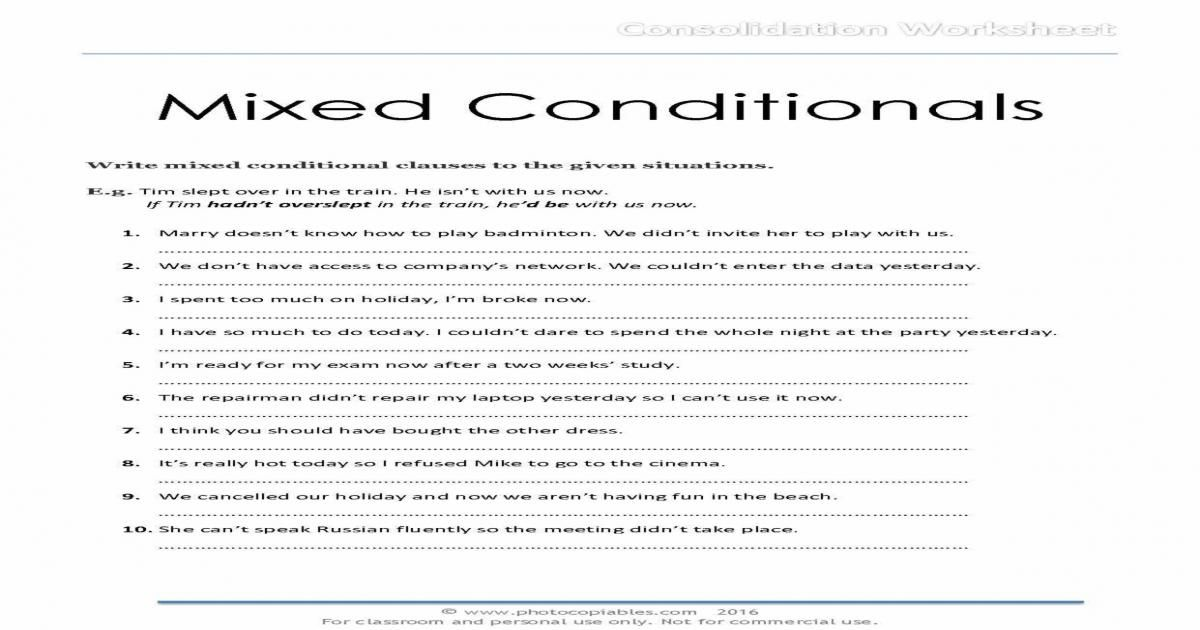 conditionals exercises pdf with answers