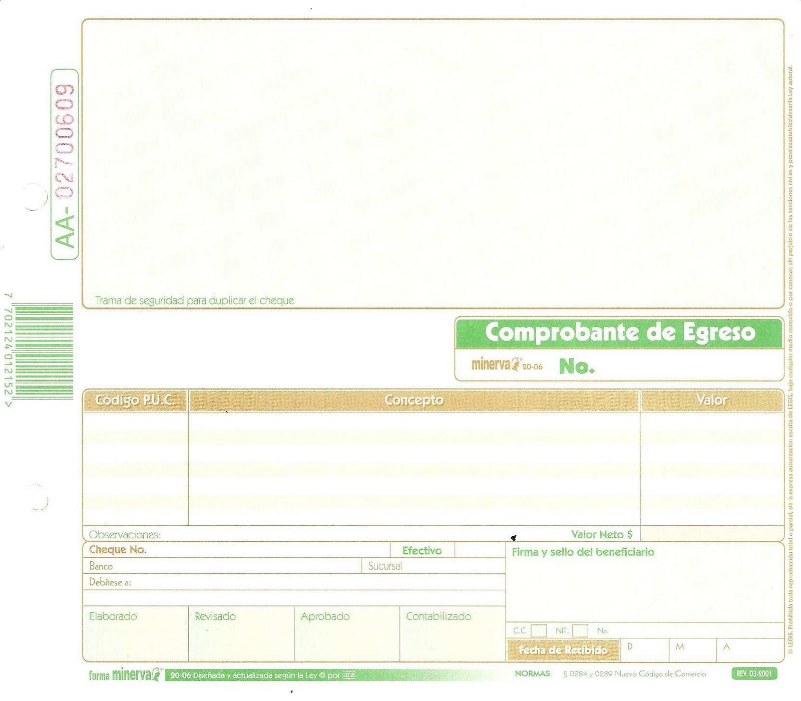 comprobante de egreso para imprimir pdf