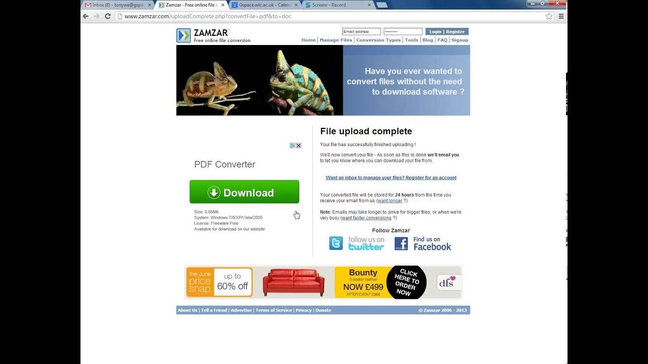 convertidor pdf a word zamzar