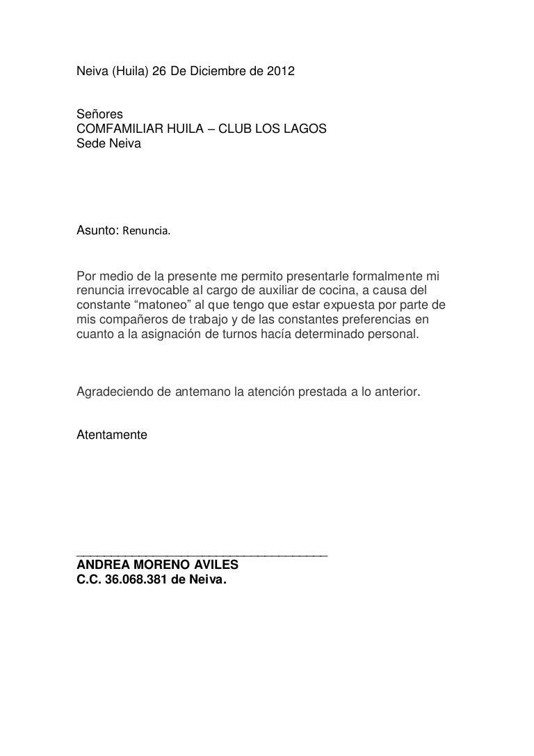 carta de solicitud de renuncia