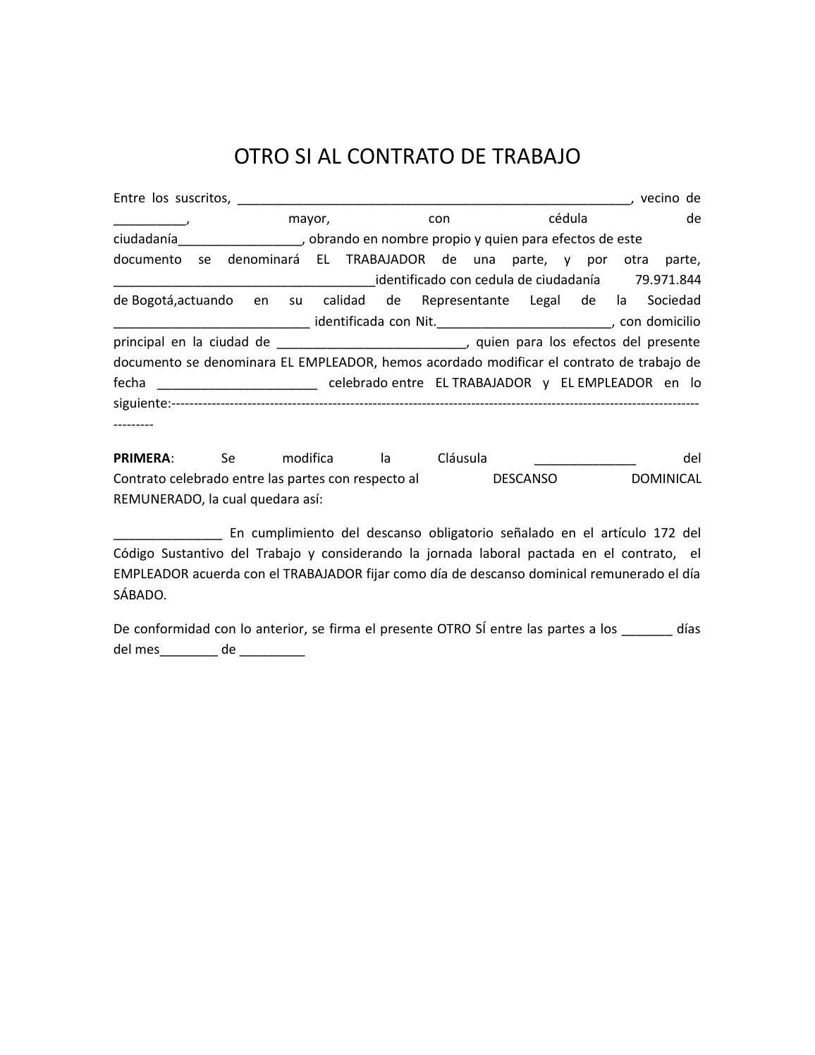 cambio de condiciones contrato de trabajo