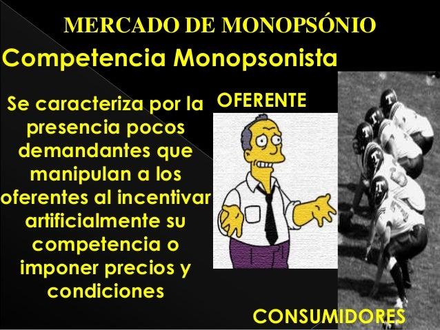 condiciones equilibrio de mercado monopolio monopsonio competencia
