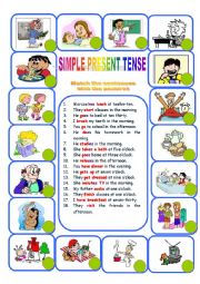 daily routines simple present tense pdf