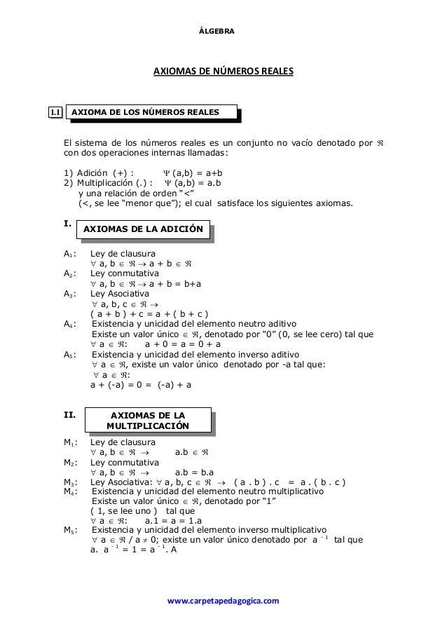 axiomas de los numeros reales ejercicios resueltos pdf