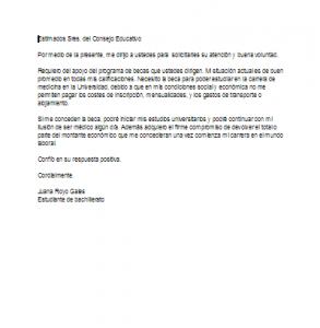 carta de solicitud de beca por situacion economica