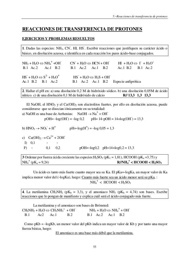condiciones de equilibrio de acidos debiles ejercicios