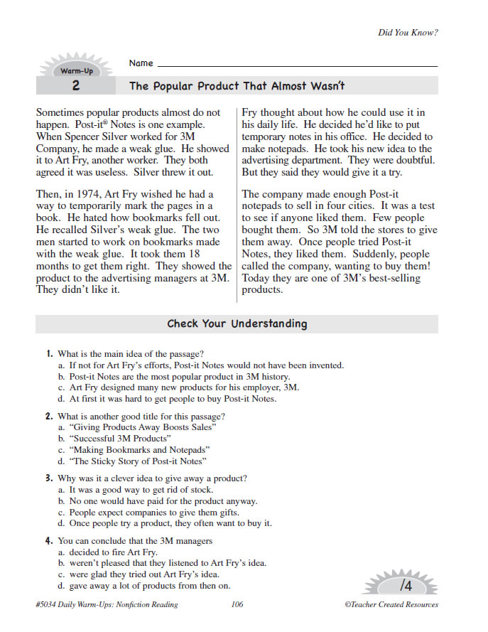 daily warm ups reading grade 4 pdf