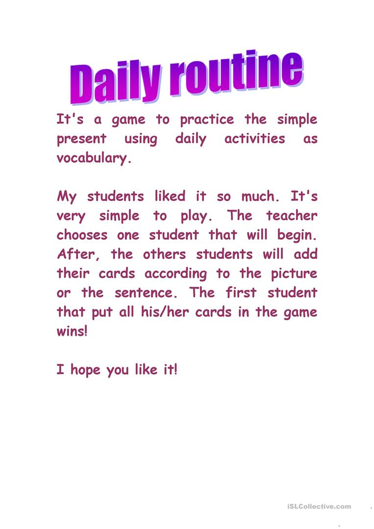 daily routines simple present worksheet pdf