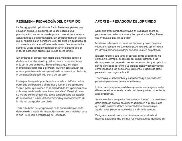 analisis de la pedagogia del oprimido pdf