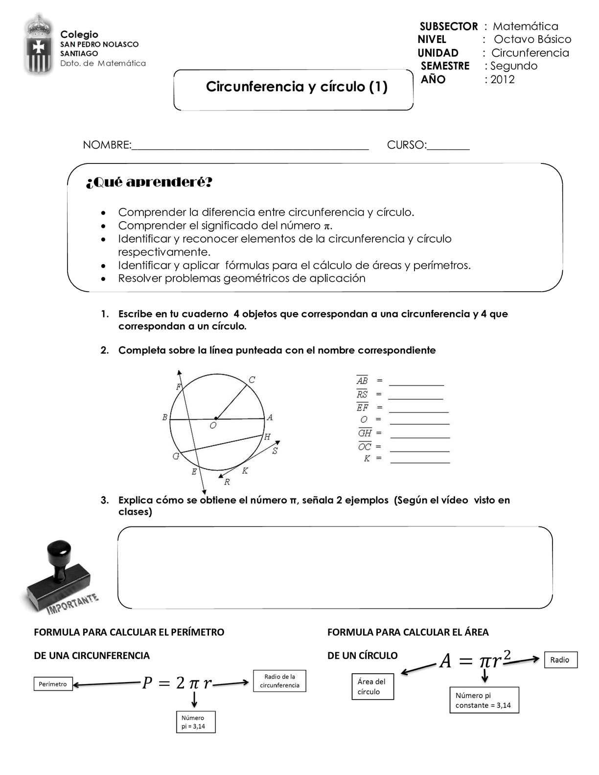 area y perimetro circulo y circunferencia pdf