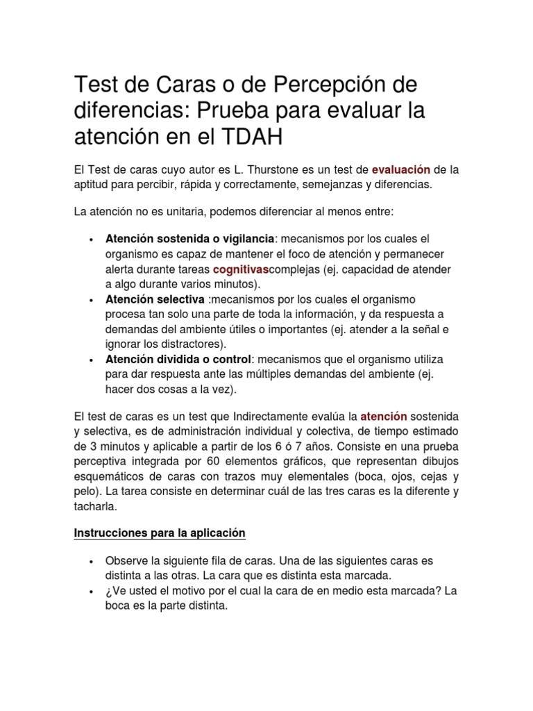 caras test de percepción de diferencias pdf