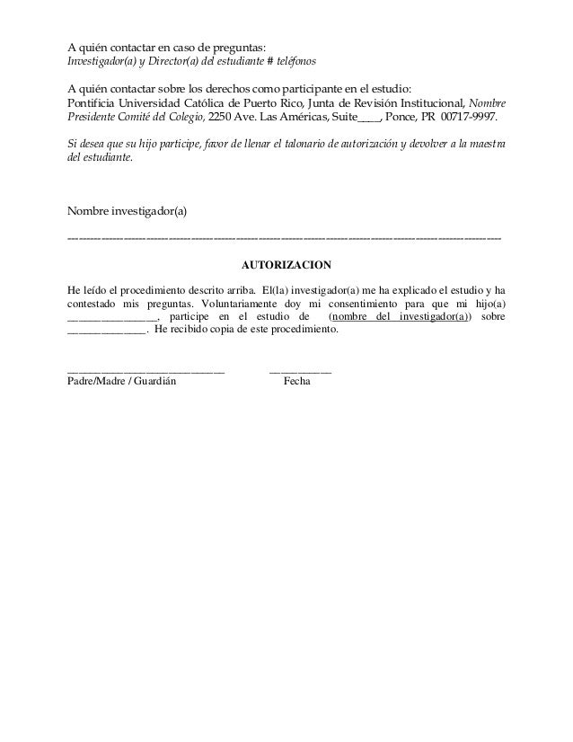 carta de consentimiento informado para encuesta pdf
