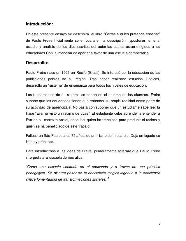 cartas a quien pretende enseñar pdf paulo freire