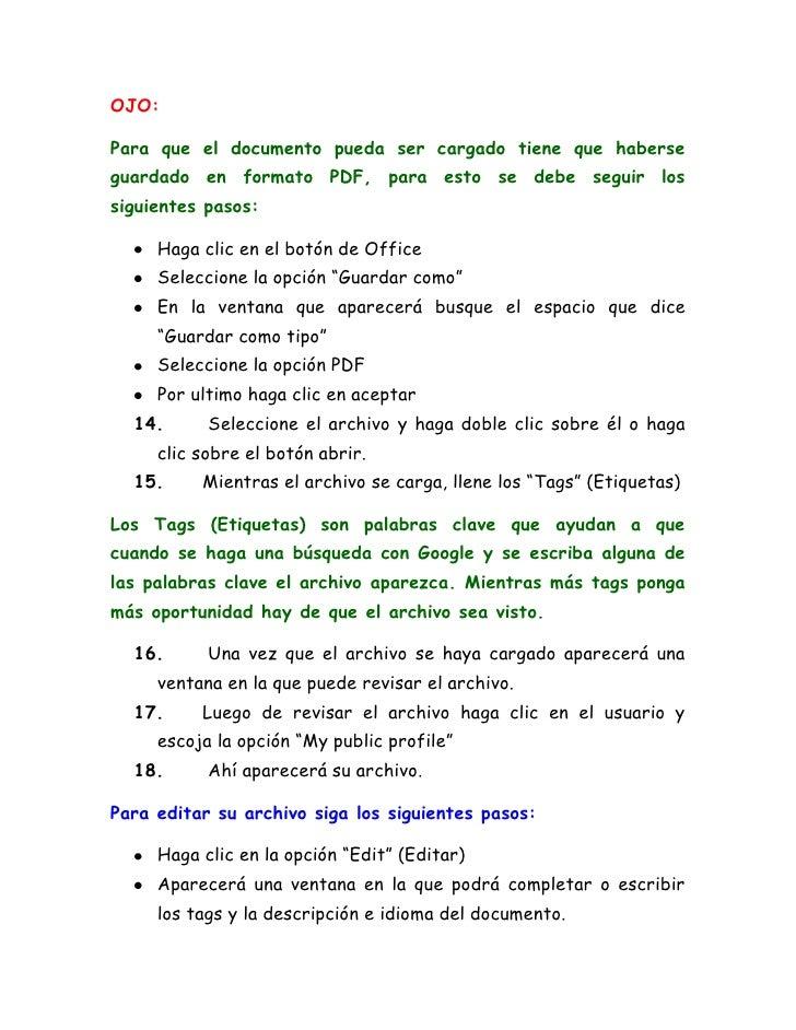 como subir un documento a internet en pdf