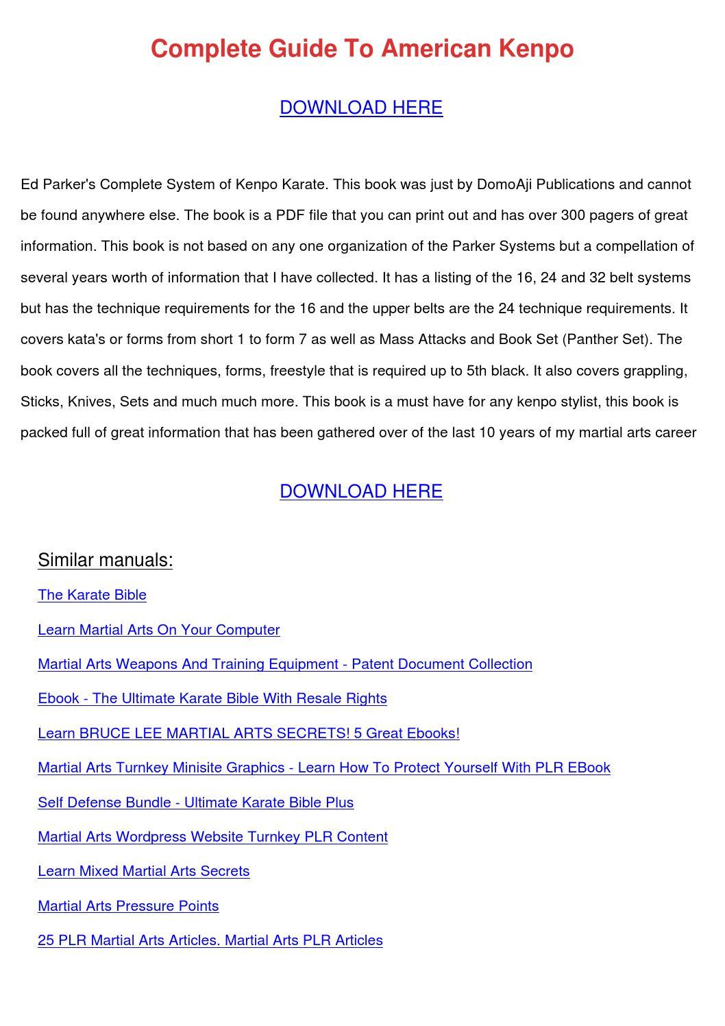 complete guide to american kenpo pdf