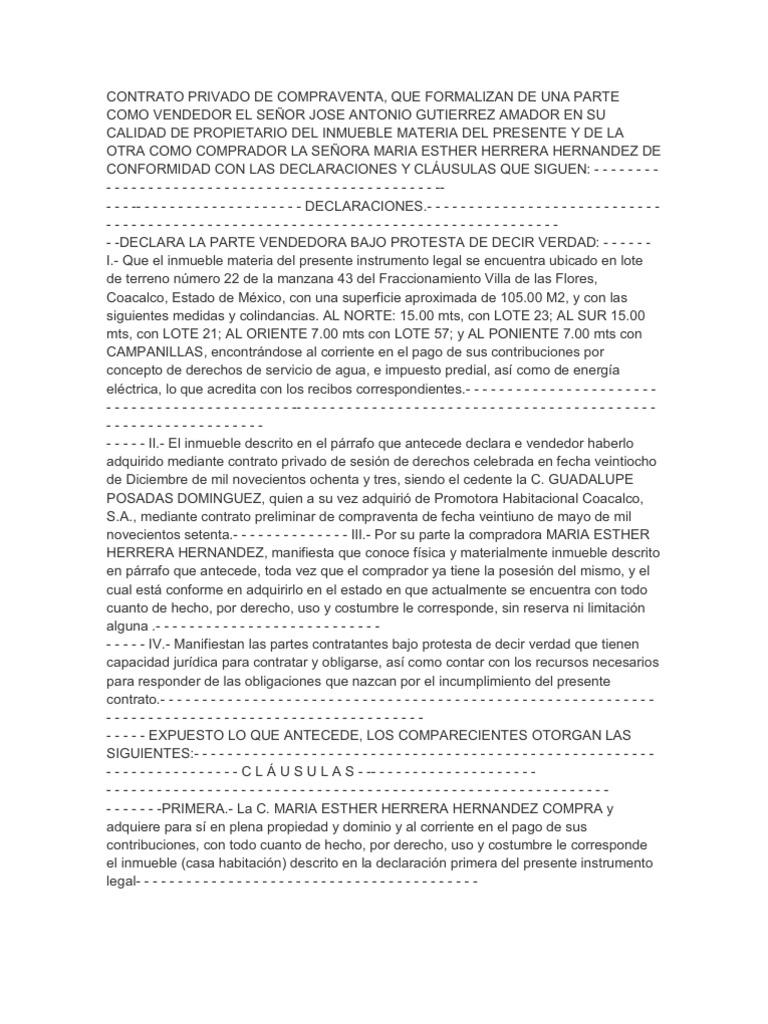 contrato de compraventa inmueble chile pdf