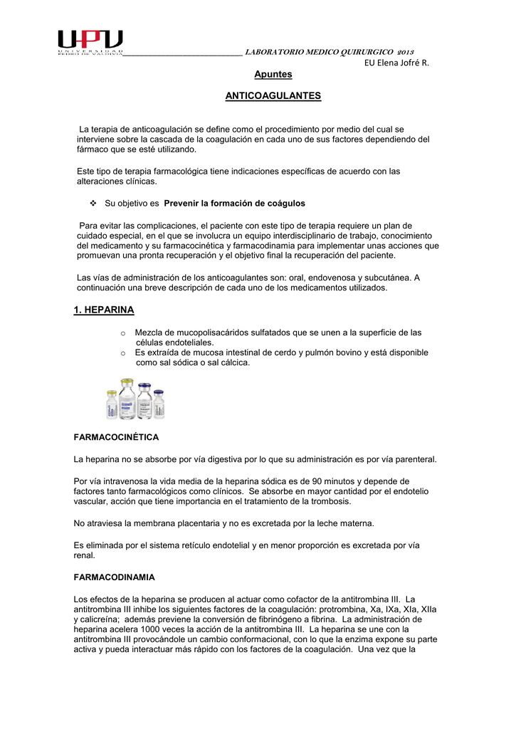 cuidados terapia farmacologica de anticoagulantes pdf