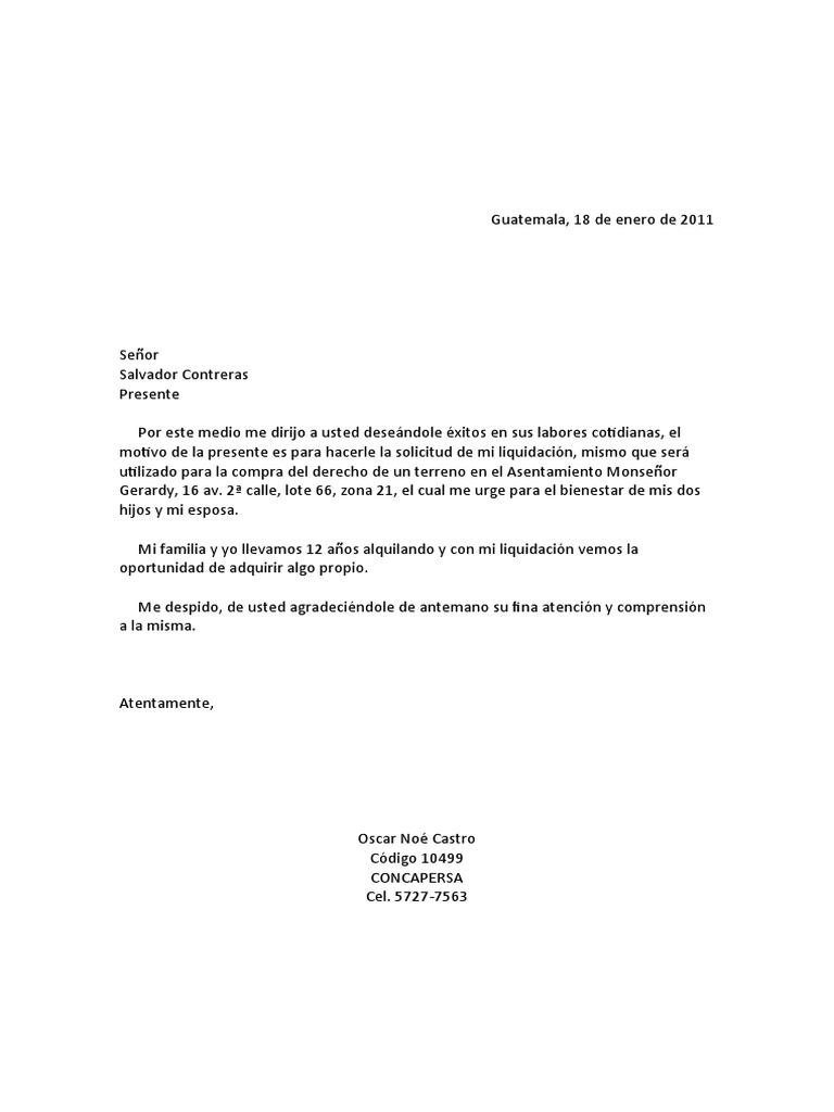 carta de solicitud de beneficios