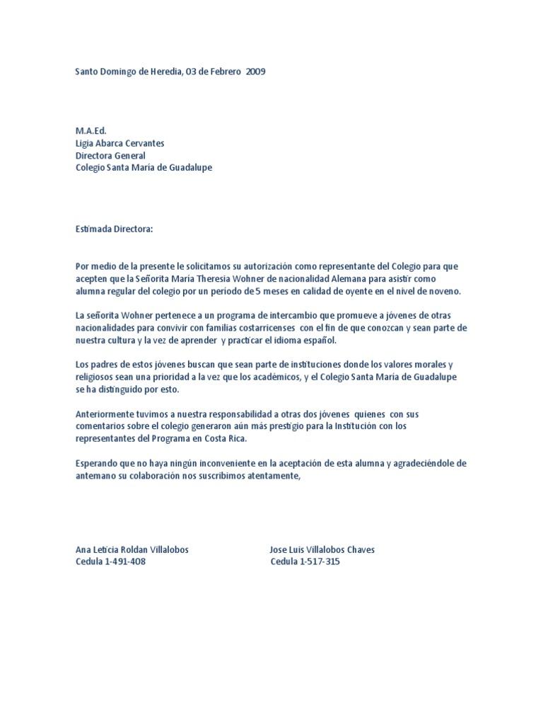 carta de solicitud de sobrecupo colegio